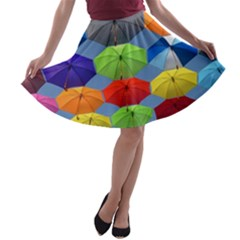 Color Umbrella Blue Sky Red Pink Grey And Green Folding Umbrella Painting A-line Skater Skirt