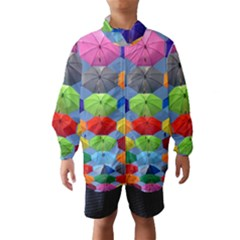 Color Umbrella Blue Sky Red Pink Grey And Green Folding Umbrella Painting Wind Breaker (Kids)