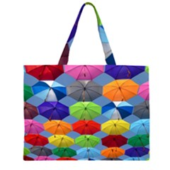 Color Umbrella Blue Sky Red Pink Grey And Green Folding Umbrella Painting Large Tote Bag