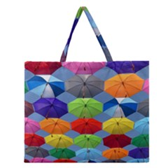 Color Umbrella Blue Sky Red Pink Grey And Green Folding Umbrella Painting Zipper Large Tote Bag