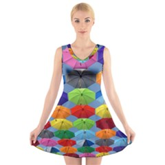 Color Umbrella Blue Sky Red Pink Grey And Green Folding Umbrella Painting V Neck Sleeveless Skater Dress