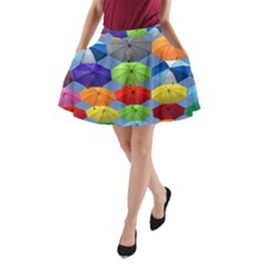Color Umbrella Blue Sky Red Pink Grey And Green Folding Umbrella Painting A-Line Pocket Skirt