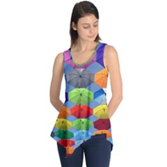 Color Umbrella Blue Sky Red Pink Grey And Green Folding Umbrella Painting Sleeveless Tunic