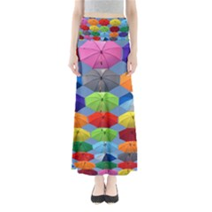 Color Umbrella Blue Sky Red Pink Grey And Green Folding Umbrella Painting Maxi Skirts