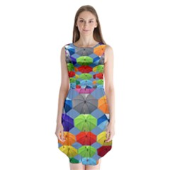 Color Umbrella Blue Sky Red Pink Grey And Green Folding Umbrella Painting Sleeveless Chiffon Dress