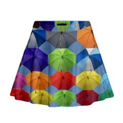Color Umbrella Blue Sky Red Pink Grey And Green Folding Umbrella Painting Mini Flare Skirt