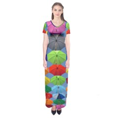 Color Umbrella Blue Sky Red Pink Grey And Green Folding Umbrella Painting Short Sleeve Maxi Dress