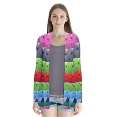 Color Umbrella Blue Sky Red Pink Grey And Green Folding Umbrella Painting Cardigans