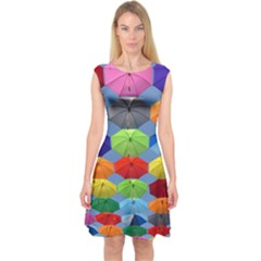 Color Umbrella Blue Sky Red Pink Grey And Green Folding Umbrella Painting Capsleeve Midi Dress