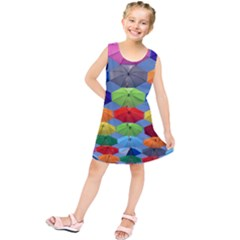 Color Umbrella Blue Sky Red Pink Grey And Green Folding Umbrella Painting Kids  Tunic Dress