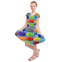 Color Umbrella Blue Sky Red Pink Grey And Green Folding Umbrella Painting Kids  Short Sleeve Dress