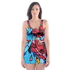 Colorful Graffiti Art Skater Dress Swimsuit