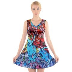 Colorful Graffiti Art V Neck Sleeveless Skater Dress