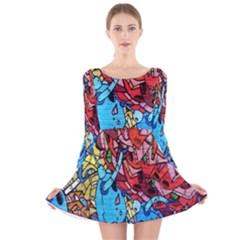Colorful Graffiti Art Long Sleeve Velvet Skater Dress