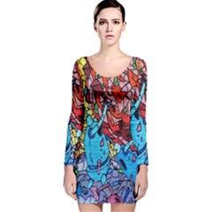 Colorful Graffiti Art Long Sleeve Velvet Bodycon Dress