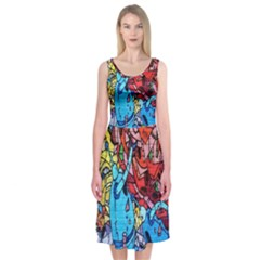 Colorful Graffiti Art Midi Sleeveless Dress