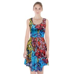Colorful Graffiti Art Racerback Midi Dress