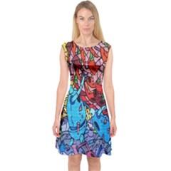 Colorful Graffiti Art Capsleeve Midi Dress