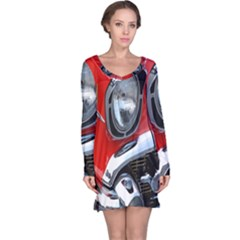 Classic Car Red Automobiles Long Sleeve Nightdress