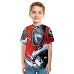 Classic Car Red Automobiles Kids  Sport Mesh Tee