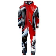 Classic Car Red Automobiles Hooded Jumpsuit (men)