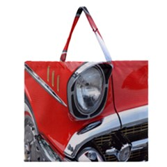 Classic Car Red Automobiles Zipper Large Tote Bag
