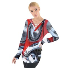 Classic Car Red Automobiles Women s Tie Up Tee