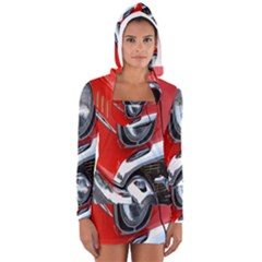 Classic Car Red Automobiles Women s Long Sleeve Hooded T-shirt