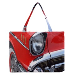 Classic Car Red Automobiles Medium Zipper Tote Bag