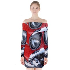 Classic Car Red Automobiles Long Sleeve Off Shoulder Dress