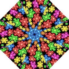 Colourful Snowflake Wallpaper Pattern Folding Umbrellas