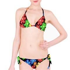 Colourful Snowflake Wallpaper Pattern Bikini Set
