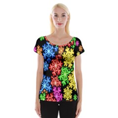 Colourful Snowflake Wallpaper Pattern Women s Cap Sleeve Top
