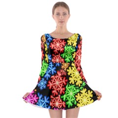 Colourful Snowflake Wallpaper Pattern Long Sleeve Skater Dress