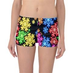 Colourful Snowflake Wallpaper Pattern Boyleg Bikini Bottoms