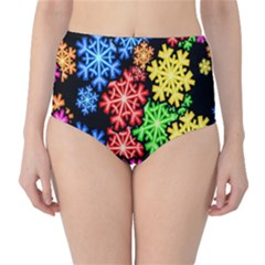 Colourful Snowflake Wallpaper Pattern High Waist Bikini Bottoms