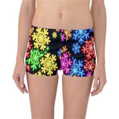 Colourful Snowflake Wallpaper Pattern Reversible Bikini Bottoms