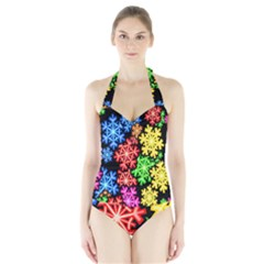 Colourful Snowflake Wallpaper Pattern Halter Swimsuit