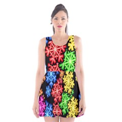 Colourful Snowflake Wallpaper Pattern Scoop Neck Skater Dress