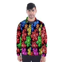 Colourful Snowflake Wallpaper Pattern Wind Breaker (Men)