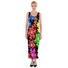 Colourful Snowflake Wallpaper Pattern Fitted Maxi Dress