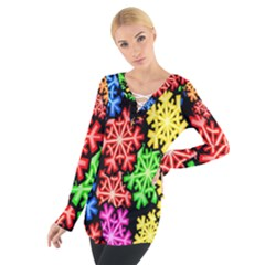 Colourful Snowflake Wallpaper Pattern Women s Tie Up Tee