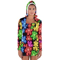 Colourful Snowflake Wallpaper Pattern Women s Long Sleeve Hooded T Shirt