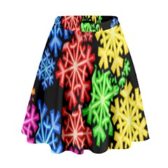 Colourful Snowflake Wallpaper Pattern High Waist Skirt