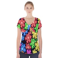 Colourful Snowflake Wallpaper Pattern Short Sleeve Front Detail Top