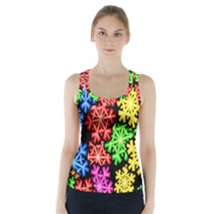 Colourful Snowflake Wallpaper Pattern Racer Back Sports Top