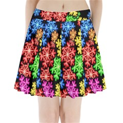Colourful Snowflake Wallpaper Pattern Pleated Mini Skirt