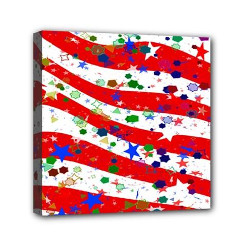 Confetti Star Parade Usa Lines Mini Canvas 6  X 6