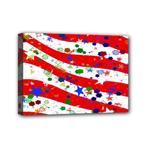 Confetti Star Parade Usa Lines Mini Canvas 7  x 5