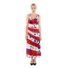 Confetti Star Parade Usa Lines Sleeveless Maxi Dress